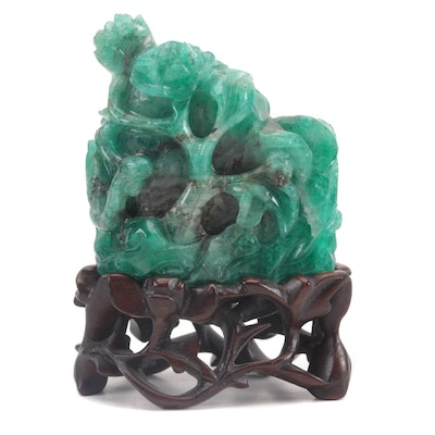 Chinese Carved Emerald Mountain Vignette
