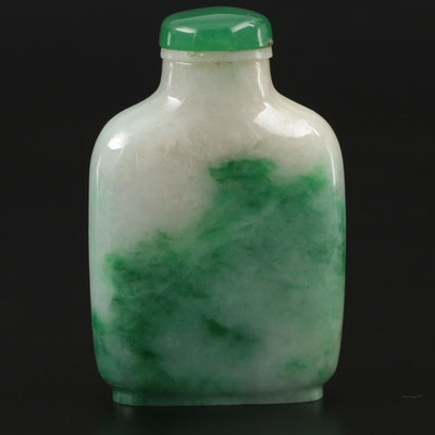 Chinese Carved Jadeite Snuff Bottle with Glass Stopper