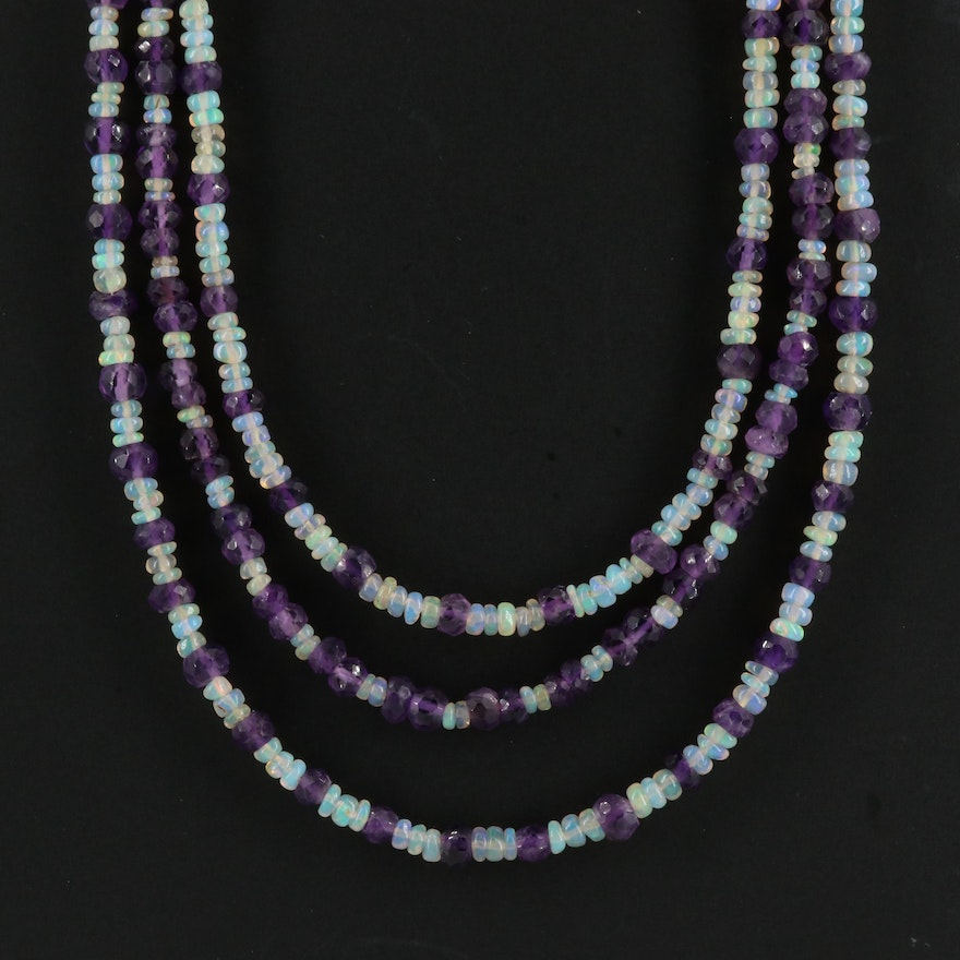 Amethyst and Opal Triple Strand Beaded Necklace with Sterling Clasp