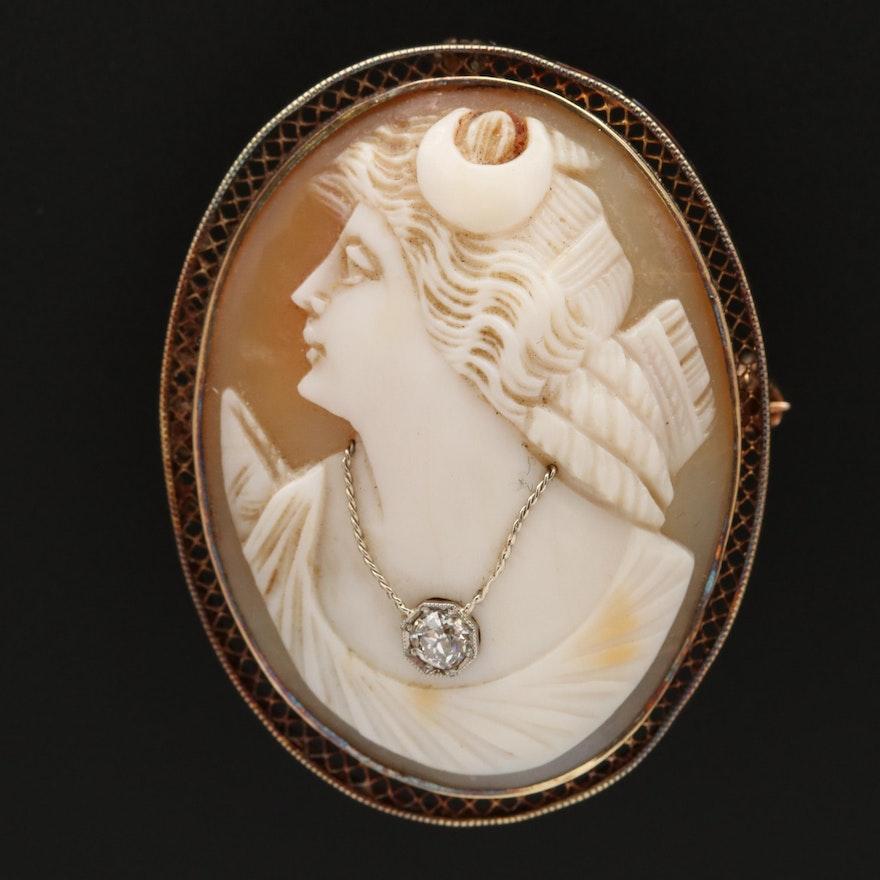 1930s 14K Shell Diana Habillé Cameo Converter Brooch with Diamond