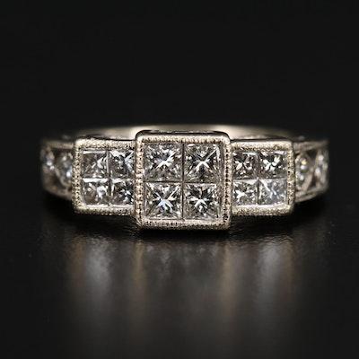 14K 1.10 CTW Diamond Stepped Openwork Ring