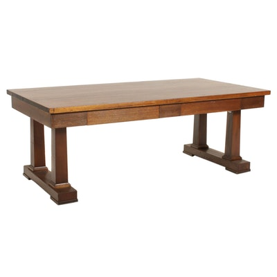 Mahogany Veneer Library Table, Mid 20th Century