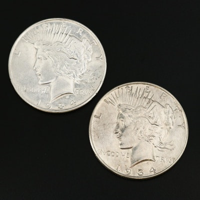 1934 and 1934-S Peace Silver Dollars