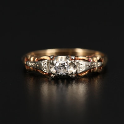 Vintage 14K Gold 0.10 CT Diamond Ring