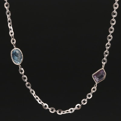 14K Multi-Colored Sapphire Station Necklace