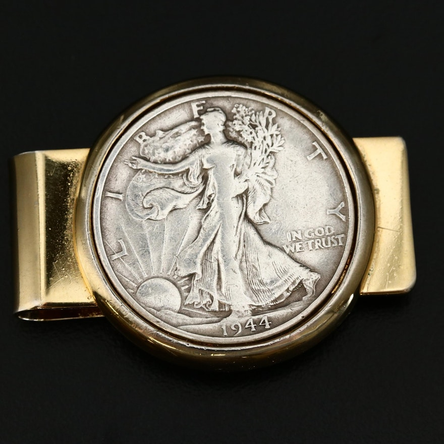 Brass Money Clip with Inset 1944 Walking Liberty Silver Half Dollar