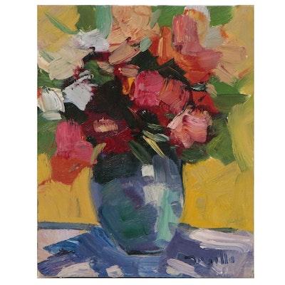 "Jose Trujillo Oil Painting ""Bright Flowers"", 2016"