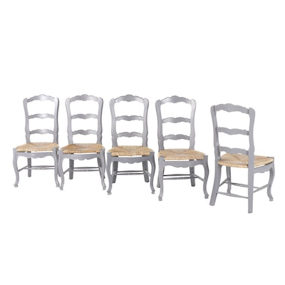 French Provincial Style Painted Wood Rush Seat Ladder Back Side Chairs