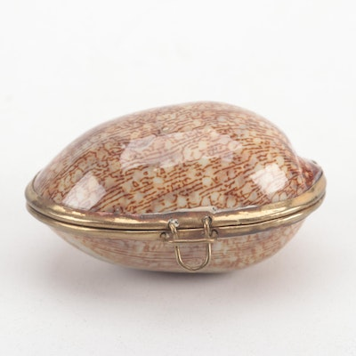 Gilt Metal Mounted Arabian Cowrie Shell Pill Box