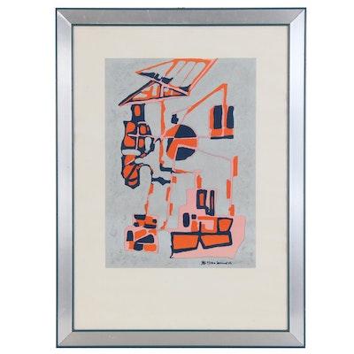 Oliviero Leonard Abstract Serigraph, 1974