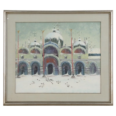 Wintertime Oil Painting of Architecture, Late 20th Century