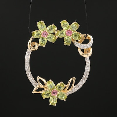 14K Peridot, Rhodolite Garnet and Diamond Flower Motif Circle Pendant