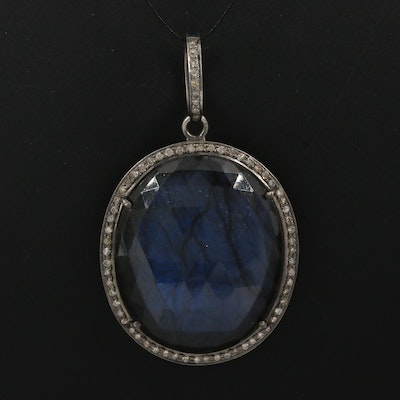 Sterling Labradorite Pendant with Diamond Halo