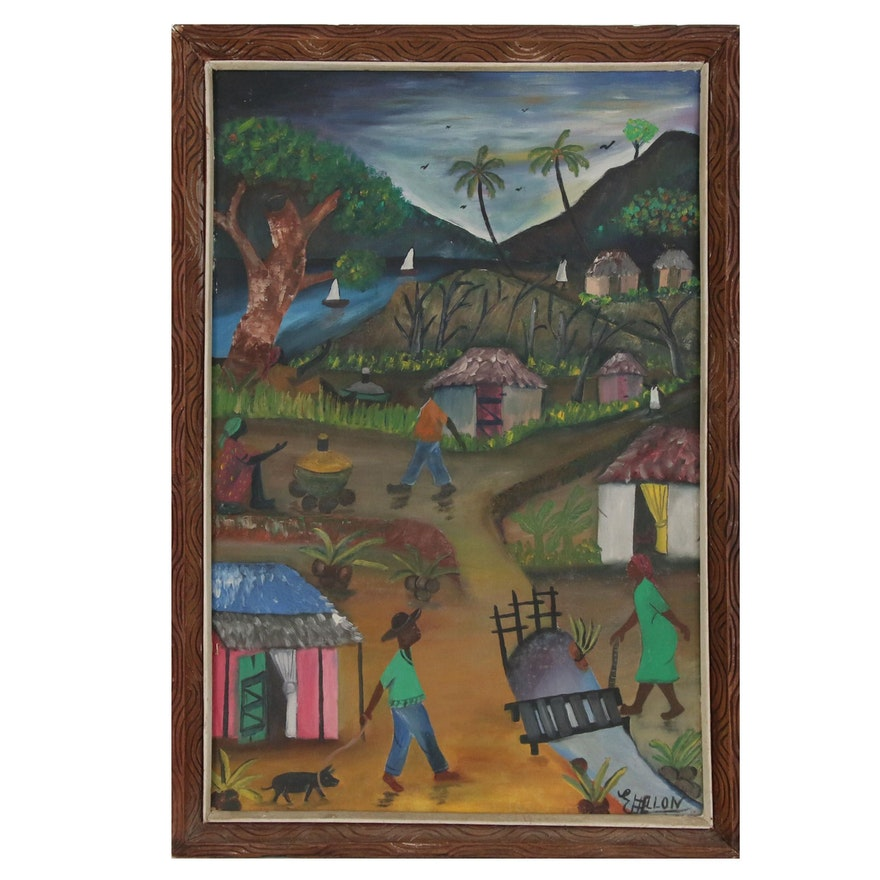 Riverside Village Scene Oil Painting, Late 20th Century