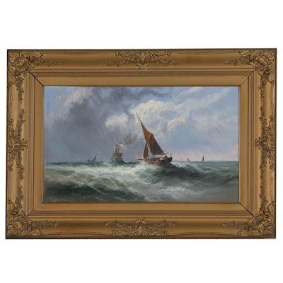 Nautical Oil Painting of Sailboats on Turbulent Ocean