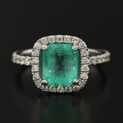 Platinum 2.02 CT Emerald and Diamond Ring