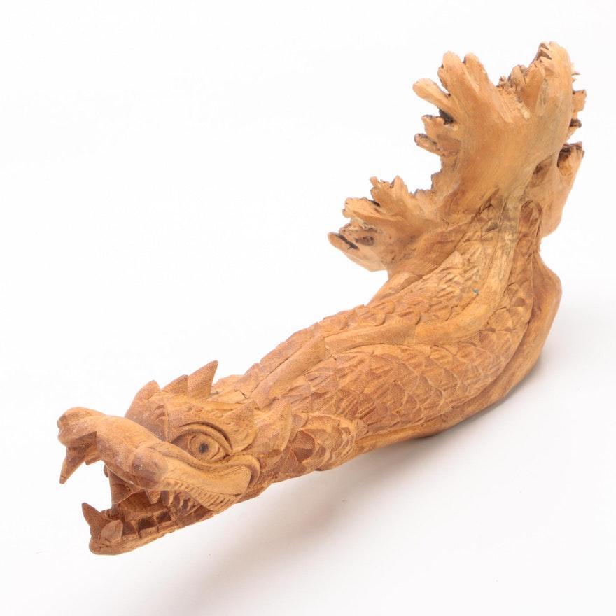 East Asian Freeform Elm Dragon Carving