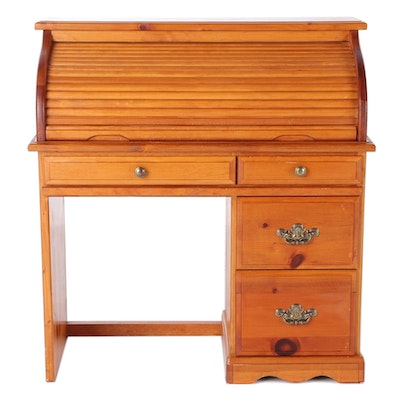 Stained Pine Roll Top Desk, Late 20th Century