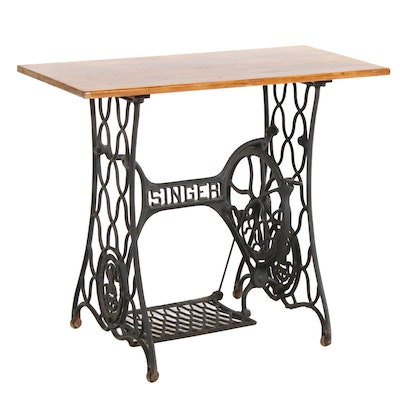 Hall Table with Cast Iron Singer Sewing Machine Treadle Base