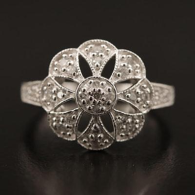 Sterling Diamond Openwork Flower Motif Ring
