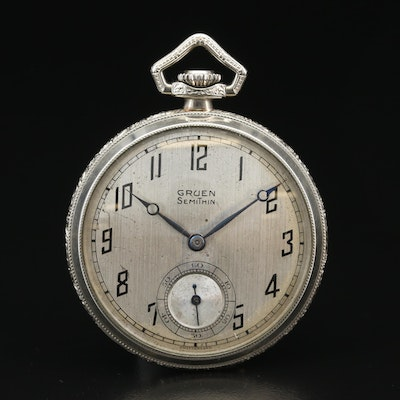 Gruen Semi Thin  14K Gold Filled Open Face Pocket Watch, Vintage
