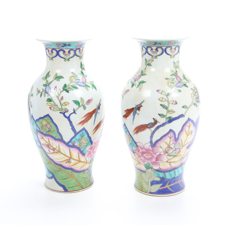 Chinese Ceramic Vases with Bird and Floral Motif