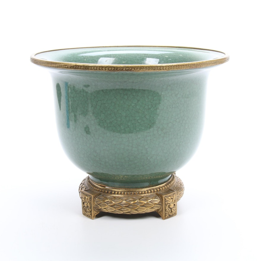 Chinese Celadon Crackle Glaze Porcelain Jardinière with Brass Tone Foot