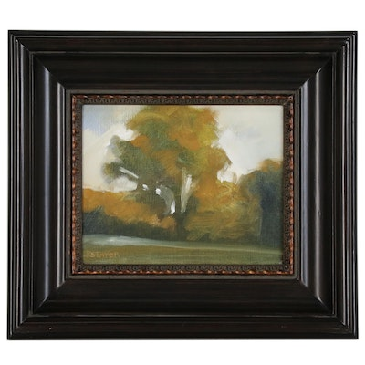 Patrick Taylor Abstract Oil Painting of Riverside Scene, 21st Century