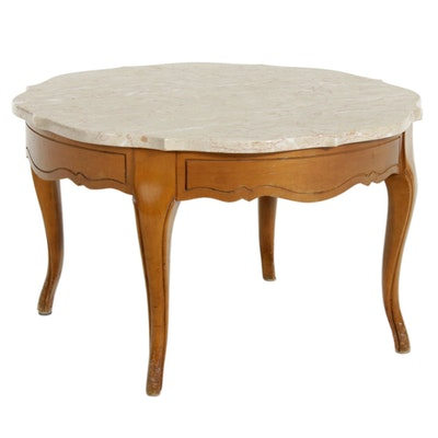 French Country Style Marble Top Coffee Table, Mid to Late 20th Century