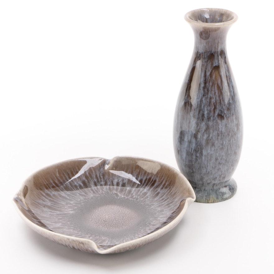Rookwood Pottery Glazed Ceramic Vase and Pinwheel Ashtray, Mid-20th Century