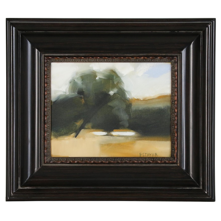 Patrick Taylor Abstract Oil Painting of Pastoral Scene, 21st Century