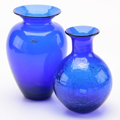 Blenko Handblown Cobalt Blue and Crackle Glass Vases, 2006