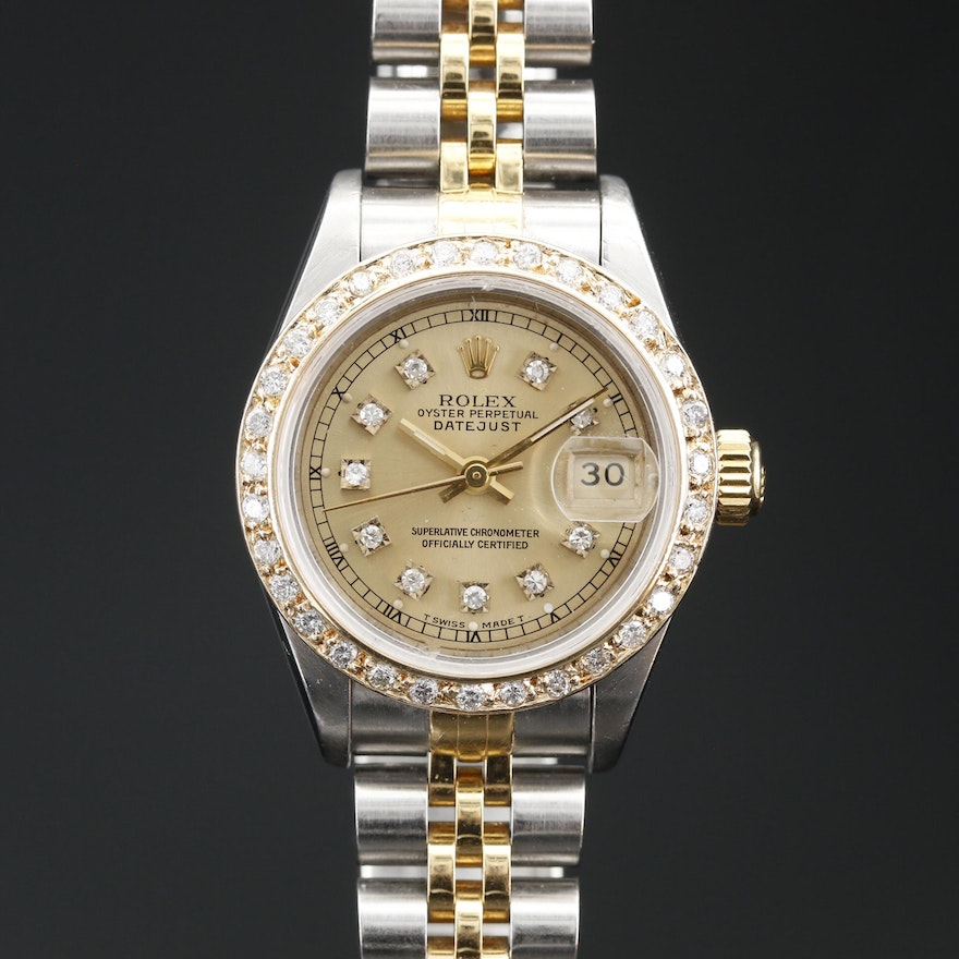 1993 Rolex Datejust Stainless Steel and 18K Diamond Bezel and Dial Wristwatch