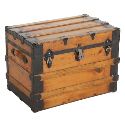 Pine Steamer Trunk with Oak Slats, Early 20th Century