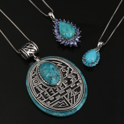 Sterling Silver Pendant Necklaces Featuring Turquoise, Apatite, and Tanzanite