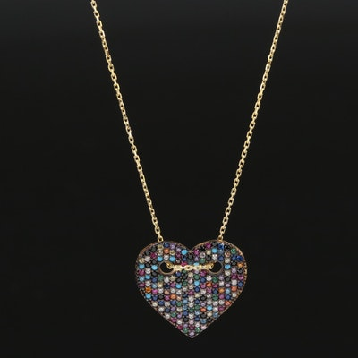 Sterling Ruby, Sapphire and Cubic Zirconia Heart Pendant Neckalce