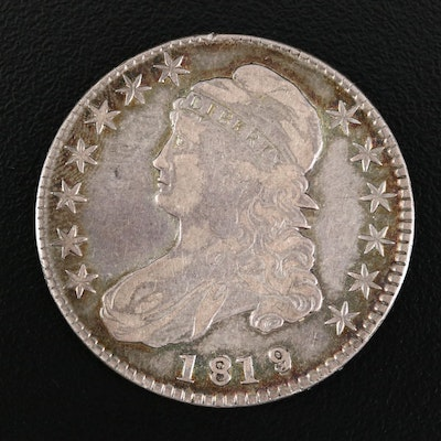 1819 Capped Bust Silver Half Dollar, Small 9 over 8 Variety
