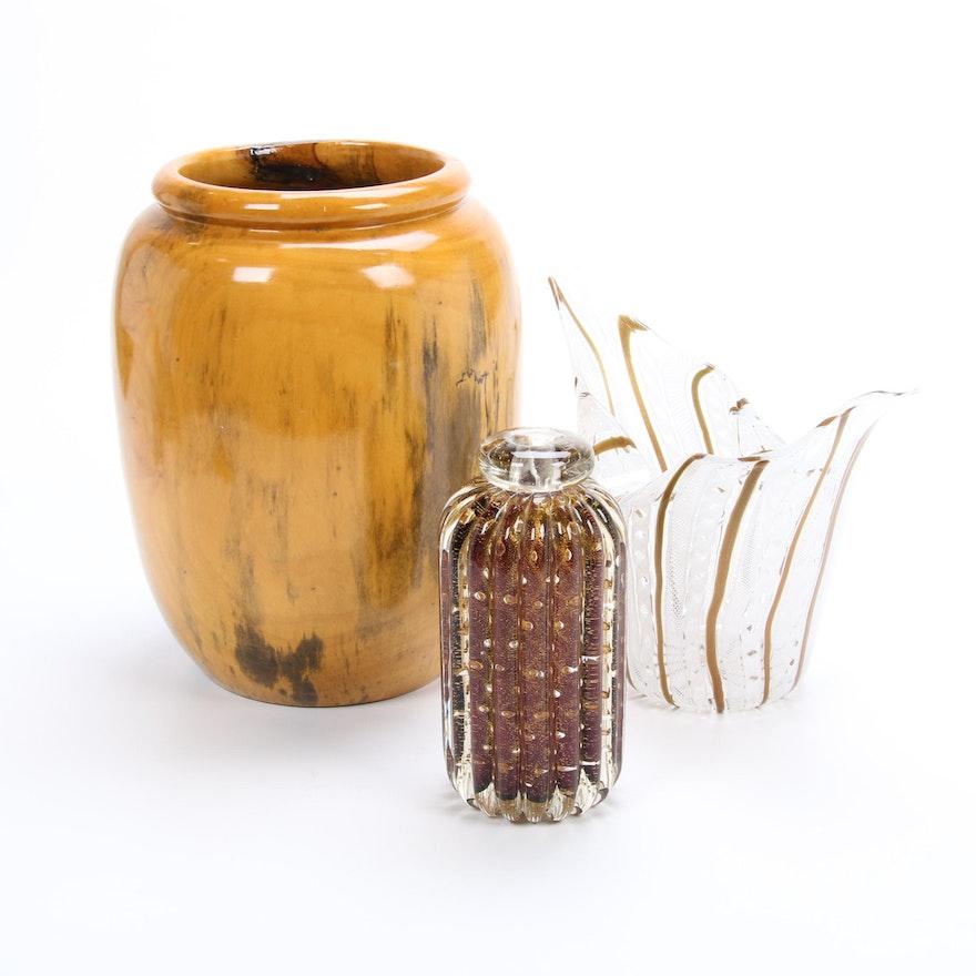 Hand Turned Wood Vase, Murano Art Glass Lattice Bowl and Ribbed Vase