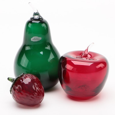 Blenko and Other Handblown Fruit Paperweights and Decor