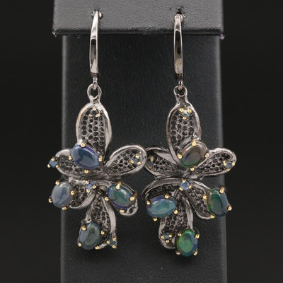 Sterling Opal and Sapphire Dangle Earrings with Floral Motif