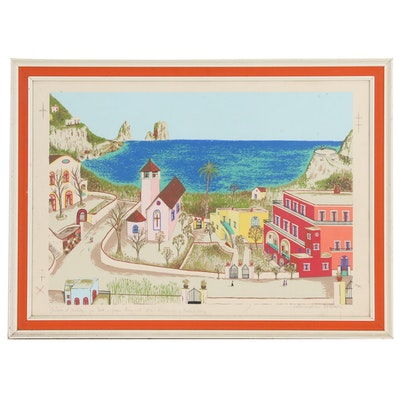 Oceanside Landscape Serigraph of Martinique, 1970