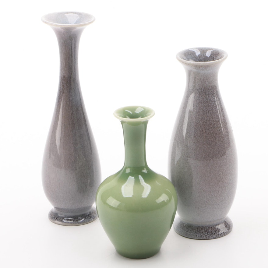 Rookwood Pottery Violet Gray and Green Glazed Bud Vases, 1945–1959