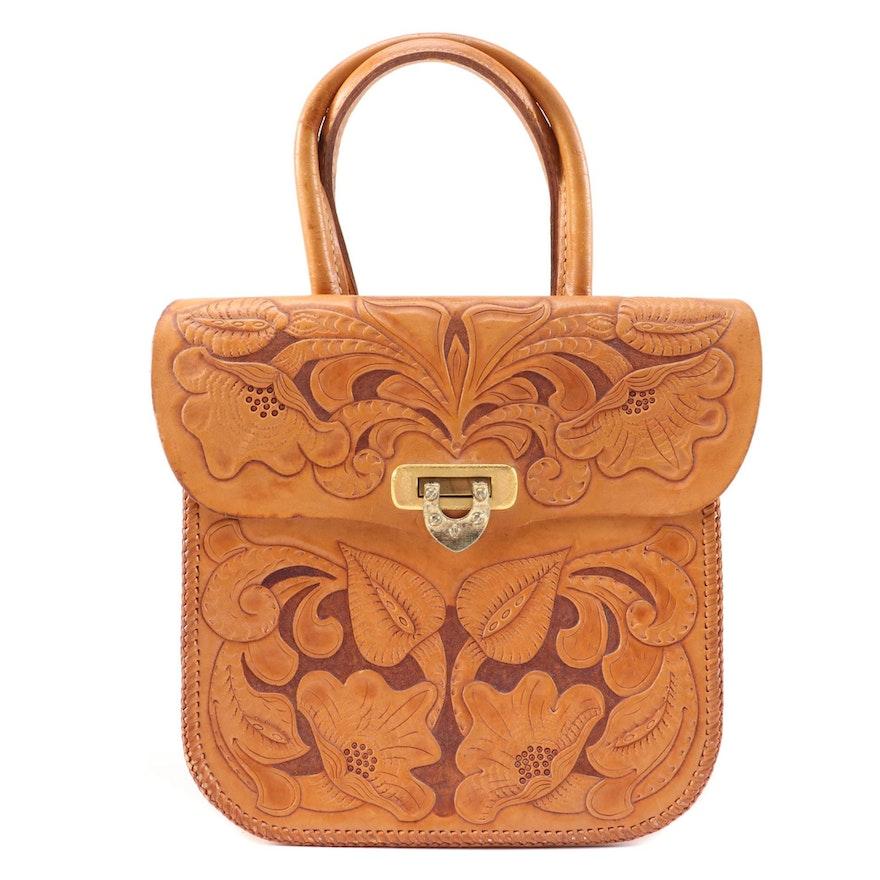 Hand Tooled Leather Dual Flap Handbag, 1970s Vintage