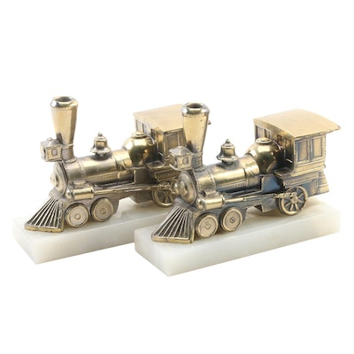 Gold Tone Metal Steam Locomotive Figurines on Onyx Bases, Late 20th Century