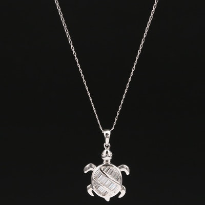 Sterling Silver Cubic Zirconia Turtle Necklace