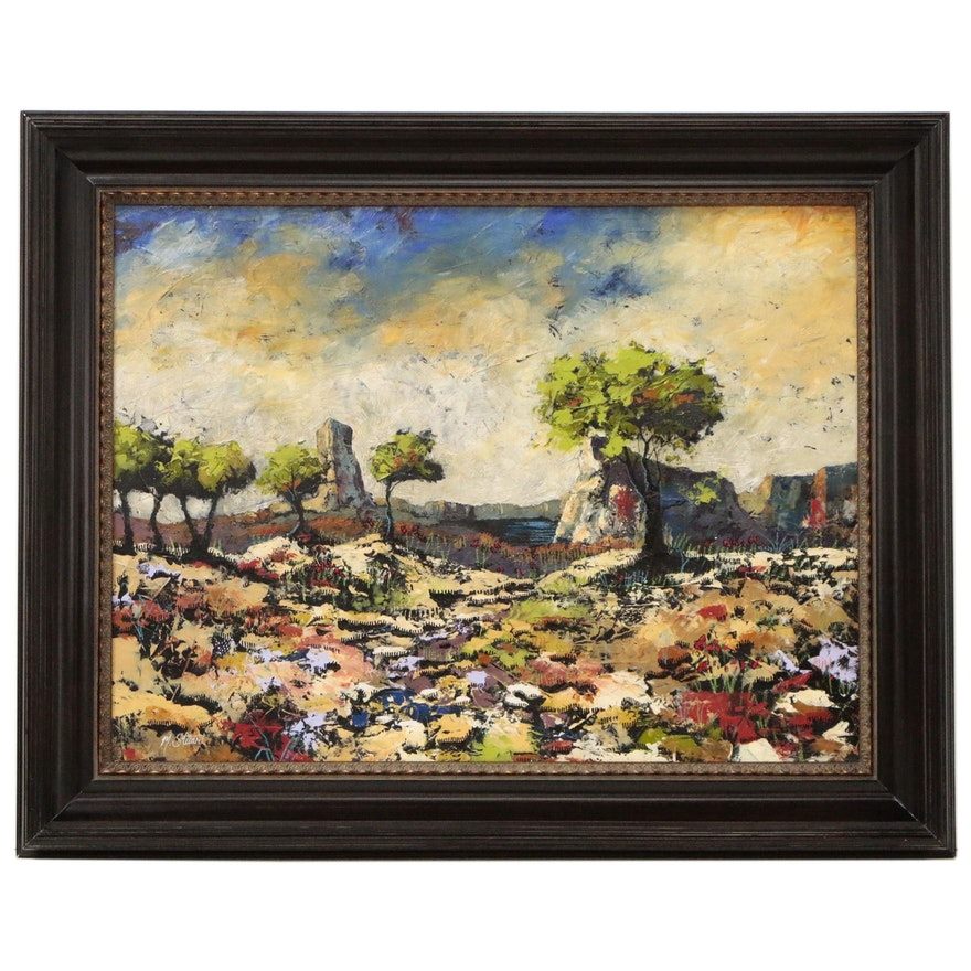 Abstract Oil Painting of Desert Landscape, 21st Century