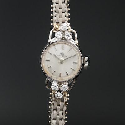 Bucherer 18K and Diamond Stem Wind Wristwatch