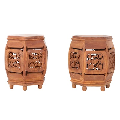 Carved Teak Plant Stands or Side Tables, Late 20th Century
