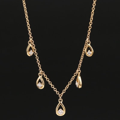 10K Diamond Drop Motif Necklace