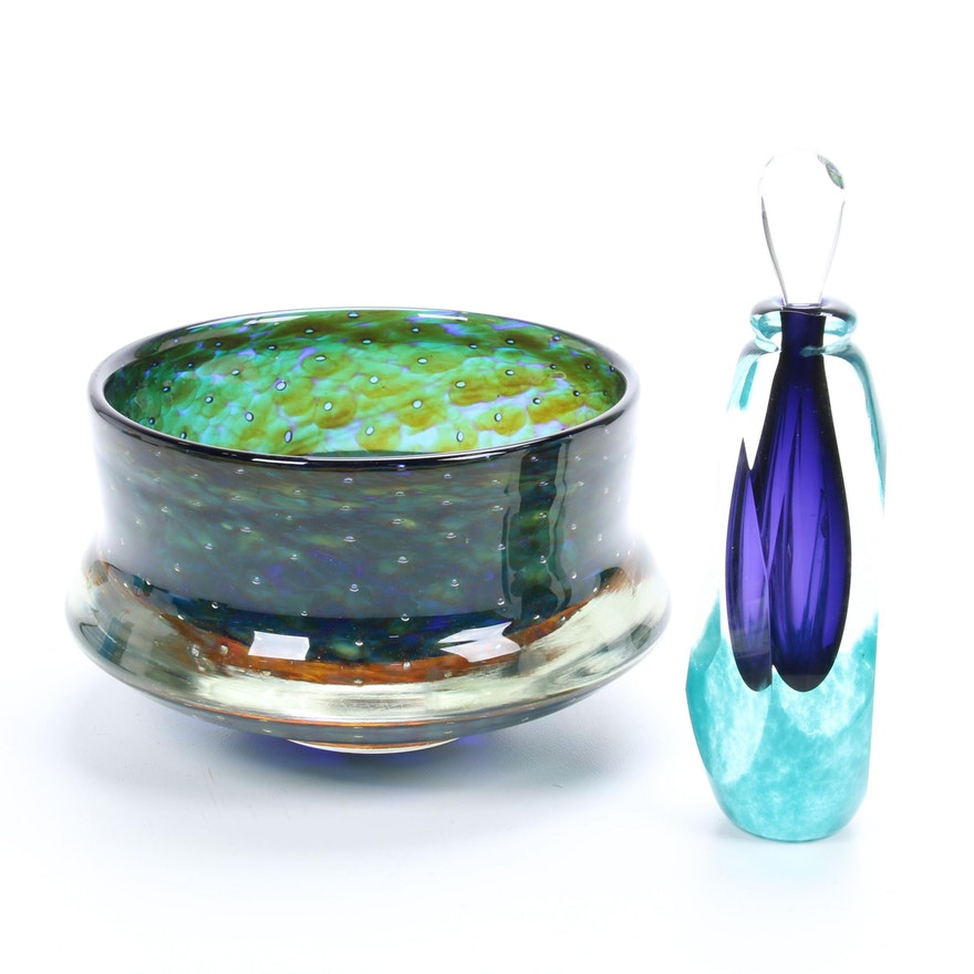 Art Glass Perfume Bottle and Centerpiece Bowl